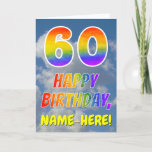 "[ Thumbnail: Rainbow Look ""60"" & ""Happy Birthday"", Clouds, Sky Card ]"