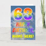 "[ Thumbnail: Rainbow Look ""63"" & ""Happy Birthday"", Clouds, Sky Card ]"