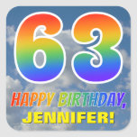 "[ Thumbnail: Rainbow Look ""63"" & ""Happy Birthday"", Clouds, Sky Sticker ]"