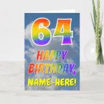 "[ Thumbnail: Rainbow Look ""64"" & ""Happy Birthday"", Clouds, Sky Card ]"