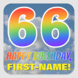 "[ Thumbnail: Rainbow Look ""66"" & ""Happy Birthday"", Clouds, Sky Sticker ]"