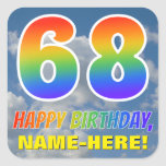"[ Thumbnail: Rainbow Look ""68"" & ""Happy Birthday"", Clouds, Sky Sticker ]"