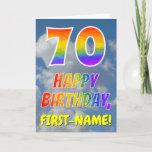 "[ Thumbnail: Rainbow Look ""70"" & ""Happy Birthday"", Clouds, Sky Card ]"