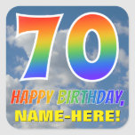 "[ Thumbnail: Rainbow Look ""70"" & ""Happy Birthday"", Clouds, Sky Sticker ]"