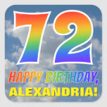 "[ Thumbnail: Rainbow Look ""72"" & ""Happy Birthday"", Clouds, Sky Sticker ]"
