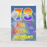 "[ Thumbnail: Rainbow Look ""73"" & ""Happy Birthday"", Clouds, Sky Card ]"