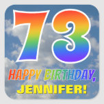 "[ Thumbnail: Rainbow Look ""73"" & ""Happy Birthday"", Clouds, Sky Sticker ]"
