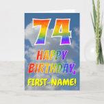 "[ Thumbnail: Rainbow Look ""74"" & ""Happy Birthday"", Clouds, Sky Card ]"
