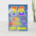 "[ Thumbnail: Rainbow Look ""76"" & ""Happy Birthday"", Clouds, Sky Card ]"
