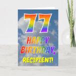 "[ Thumbnail: Rainbow Look ""77"" & ""Happy Birthday"", Clouds, Sky Card ]"