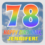 "[ Thumbnail: Rainbow Look ""78"" & ""Happy Birthday"", Clouds, Sky Sticker ]"
