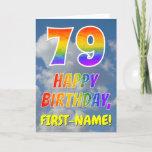 "[ Thumbnail: Rainbow Look ""79"" & ""Happy Birthday"", Clouds, Sky Card ]"