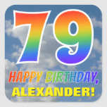 "[ Thumbnail: Rainbow Look ""79"" & ""Happy Birthday"", Clouds, Sky Sticker ]"
