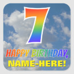 "[ Thumbnail: Rainbow Look ""7"" & ""Happy Birthday"", Clouds, Sky Sticker ]"
