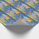 "[ Thumbnail: Rainbow Look ""7"" & ""Happy Birthday"", Clouds, Sky Wrapping Paper ]"