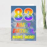 "[ Thumbnail: Rainbow Look ""83"" & ""Happy Birthday"", Clouds, Sky Card ]"