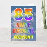 "[ Thumbnail: Rainbow Look ""85"" & ""Happy Birthday"", Clouds, Sky Card ]"