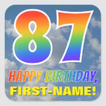 "[ Thumbnail: Rainbow Look ""87"" & ""Happy Birthday"", Clouds, Sky Sticker ]"