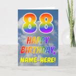 "[ Thumbnail: Rainbow Look ""88"" & ""Happy Birthday"", Clouds, Sky Card ]"