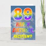 "[ Thumbnail: Rainbow Look ""89"" & ""Happy Birthday"", Clouds, Sky Card ]"