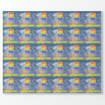 "[ Thumbnail: Rainbow Look ""8"" & ""Happy Birthday"", Clouds, Sky Wrapping Paper ]"