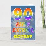 "[ Thumbnail: Rainbow Look ""90"" & ""Happy Birthday"", Clouds, Sky Card ]"