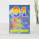 "[ Thumbnail: Rainbow Look ""91"" & ""Happy Birthday"", Clouds, Sky Card ]"