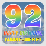 "[ Thumbnail: Rainbow Look ""92"" & ""Happy Birthday"", Clouds, Sky Sticker ]"