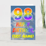 "[ Thumbnail: Rainbow Look ""98"" & ""Happy Birthday"", Clouds, Sky Card ]"
