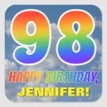 "[ Thumbnail: Rainbow Look ""98"" & ""Happy Birthday"", Clouds, Sky Sticker ]"