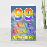 "[ Thumbnail: Rainbow Look ""99"" & ""Happy Birthday"", Clouds, Sky Card ]"