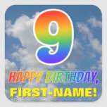 "[ Thumbnail: Rainbow Look ""9"" & ""Happy Birthday"", Clouds, Sky Sticker ]"