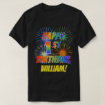 [ Thumbnail: Rainbow Look Happy 1st Birthday; Fireworks + Name T-Shirt ]