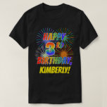 [ Thumbnail: Rainbow Look Happy 3rd Birthday; Fireworks + Name T-Shirt ]