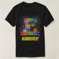 Rainbow Look HAPPY 3RD BIRTHDAY Fireworks Name
