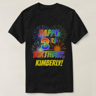 Rainbow Look HAPPY 3RD BIRTHDAY Fireworks Name T Shirt