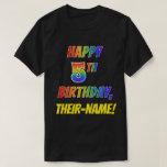 [ Thumbnail: Rainbow Look Happy 5th Birthday + Custom Name T-Shirt ]