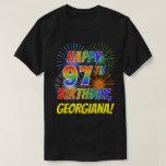 [ Thumbnail: Rainbow Look Happy 97th Birthday; Fireworks + Name T-Shirt ]