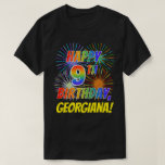 [ Thumbnail: Rainbow Look Happy 9th Birthday; Fireworks + Name T-Shirt ]