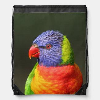 Rainbow Lorikeet Drawstring Bags