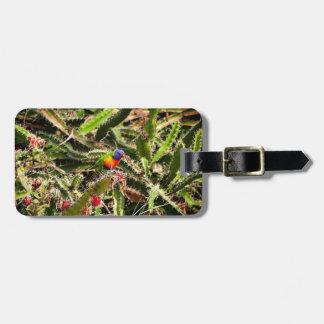 Rainbow Lorikeet in cactus luggage tag