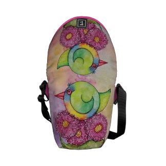 Rainbow lorikeet on watercolour messenger bag