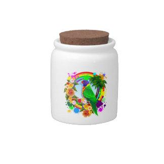 Rainbow Lorikeet Parrot Candy_Jar Candy Dish