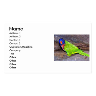 Rainbow Lorikeet parrot on rock wall, side view Business Card