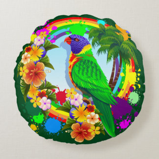 Rainbow Lorikeet Parrot Throw Pillow
