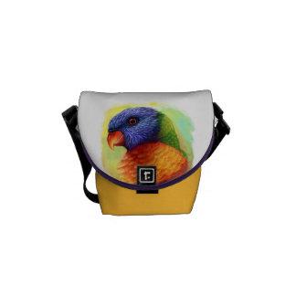 Rainbow lorikeet realistic painting courier bag