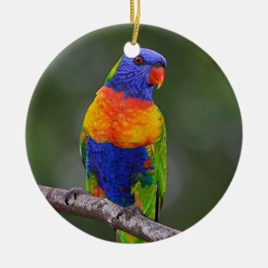 Rainbow Lorikeet Trichoglossus Haematodus Parrot Ceramic Ornament