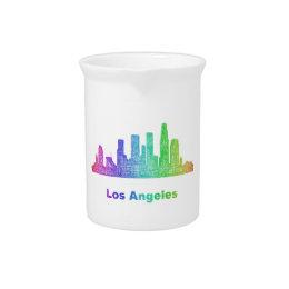 Rainbow Los Angeles skyline Pitcher