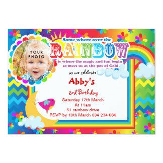 Rainbow lotsa colors birthday invitation
