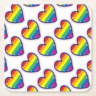 RAINBOW-LOVE-BACK SQUARE PAPER COASTER